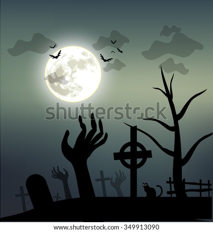 Spooky Halloween illustration vector #349913090
