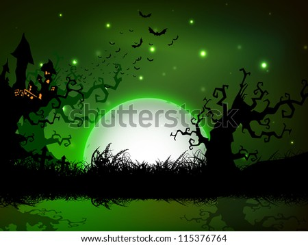 Spooky Halloween night background. EPS 10.