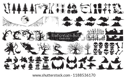 Spooky Halloween Silhouette Elements Vector Collection isolated on white background. scary and creepy element icon character - Shutterstock ID 1188536170