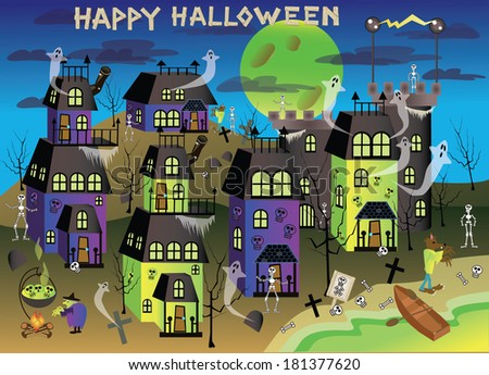 spooky Halloween town with green lakes/Spooky Ville3/Happy Halloween letters are saved on a separate layer so you can take them out and add your own type