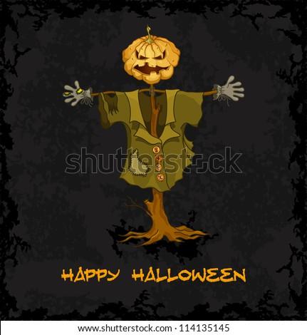 Spooky jack-o-lantern. Dark grungy halloween background. Vector Illustration.