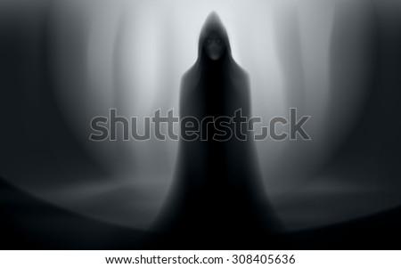 spooky man in cloak halloween