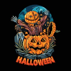 spooky masked man comes out of a pumpkin on halloween night. editable layers vector