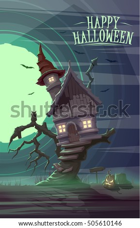 Spooky old house of witch on the tree. Happy Halloween card poster. Vector illustration