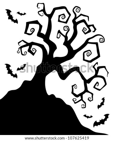 Spooky silhouette of Halloween tree - vector illustration.