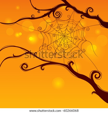 Spooky spider web hanging on tree in curvy style with cheerful background.  Blank space at the bottom for design and text.