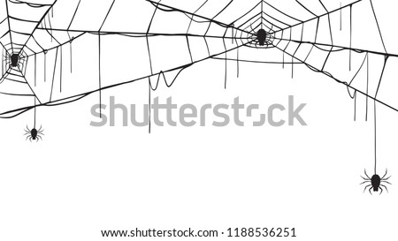 Spooky spider web silhouette collection of Halloween vector isolated on white background. scary, haunted and creepy cobweb element #1188536251