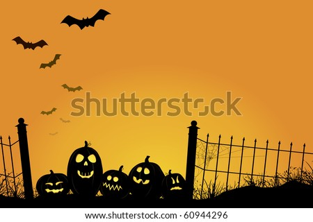 Spooky sunset with Jack O'Lanterns, bats, and fence with cobwebs ...
