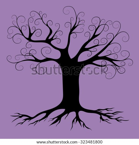 spooky tree vector silhouette