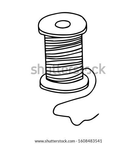 Spool of thread for needlework and sewing. Black and white vector illustration isolated on a white background. Hand-drawn doodle style element. threads on a wooden spool.