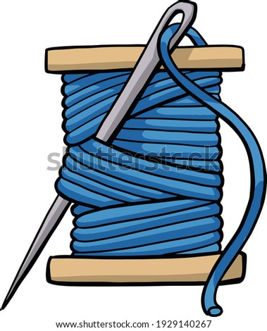 spool of thread vector embroidery tool. Doodle sewing tools equipment. Needlework concept. Hand drawn colored vector set. Cartoon style, flat design. embroidery bobbin Сток-фото ©