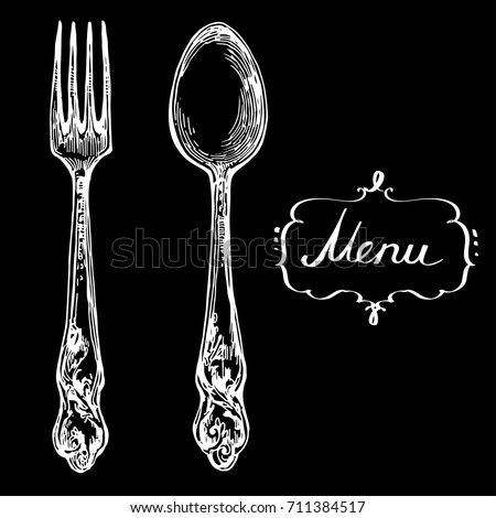 spoon and fork hand drawn line art vector sketch chalk on blackboard stock illustration