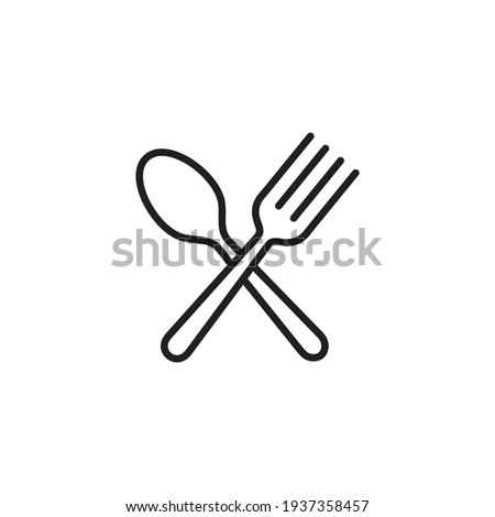 Spoon and fork icon in line style, restaurant business concept, vector illustration Photo stock ©