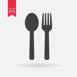 Spoon and Fork Icon Vector.  Food, dining,  bar, cafe, hotel, eating concept. Sign Isolated on white background. Trendy Flat style for restaurant menu, graphic design, logo, Web, UI, mobile upp, EPS10