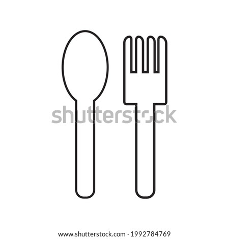 spoon and fork on a white vector background