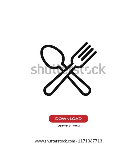 Spoon and fork vector icon. Lunch,dinner symbol. Flat vector sign isolated on white background. Simple vector illustration for graphic and web design.