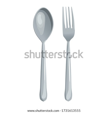 Spoon and fork vector illustration isolated on white background Photo stock ©