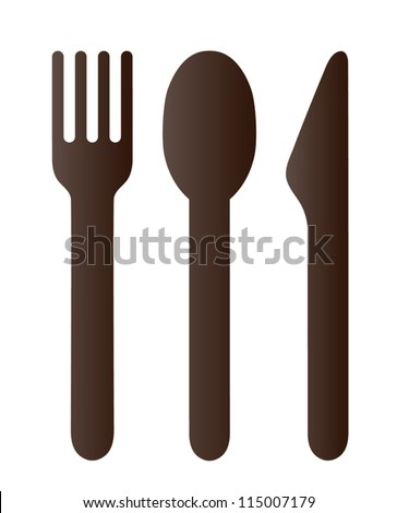 Spoon fork and knife on white background