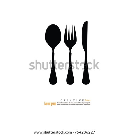 Spoon fork and knife . Vector illustration.
