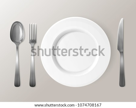 Spoon, fork or knife and plate 3D vector illustration. Isolated realistic set of table dining setting of silver or metal steel spoon, fork and knife cutlery around empty dish plate
