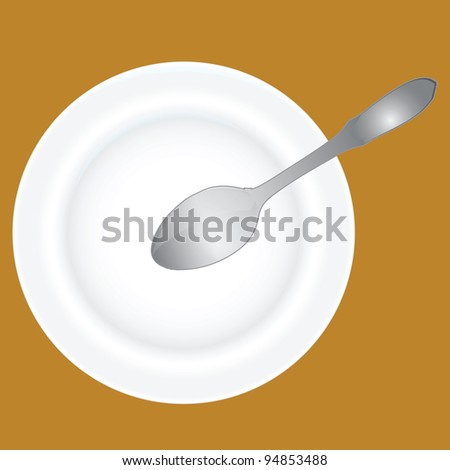 Spoon into an empty soup plate. Vector illustration.