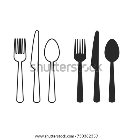Spoon, Knife, Fork Icon vector Set. Outline Vector