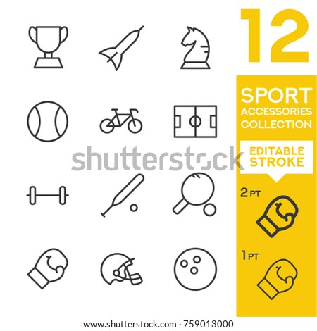 Sport accessories collection. Editable vector set