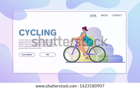 Sport activities flat illustration. Sportsman cartoon character. Bike training. Outdoor exercises on bicycle. Cycling and active lifestyle concept