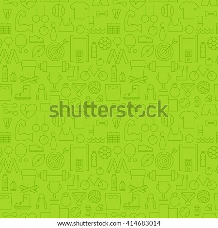 Sport Activity Exercise Seamless Green Pattern. Vector Fitness Design and Seamless Background in Trendy Modern Line Style. Thin Outline Art