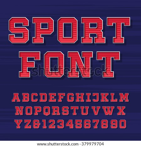 Sport alphabet vector font. Retro style typeface for labels, titles, posters or sportswear. Type letters and numbers on the dark background.