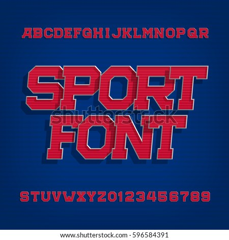 Shutterstock Sport alphabet vector font. Retro style typeface for labels, titles, posters or sportswear. Type letters and numbers on a blue background.