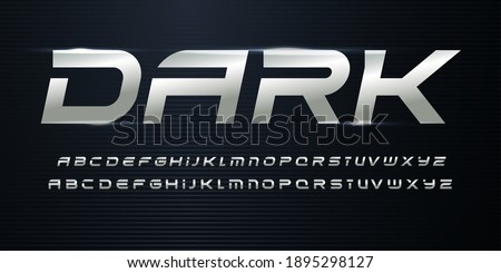 Sport Alphabet with Metallic texture on dark background. Chrome steel italic alphabet for dynamic logo and headlines. Modern cropped letters with aluminium color. Vector typography design Stock fotó ©