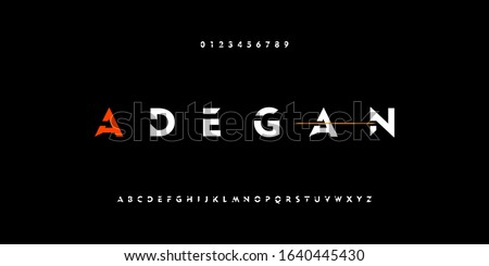 Sport and action technology typography alphabet fonts with bold style. Strong and power letter font. Vector illustration Stockfoto ©
