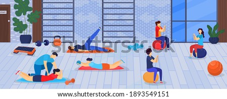 Sport and fitness in gym vector illustration. Healthy sportsmen doing exercises training with sports equipment, sportive man and women. Human activity workout in gym weight loss. Foto stock ©