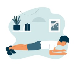 Sport and physical activities at home. Healthy lifestyle, fitness training concept. Young athletic man doing elbow plank exercises in apartment room. Active people, home workout vector illustration.