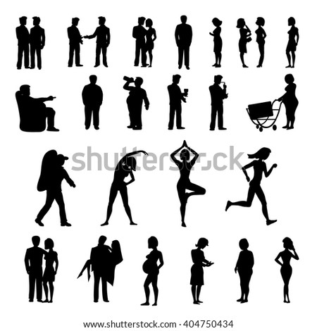 Sport and physical inactivity black silhouette set. Good and bad habits. Layered vector illustration.