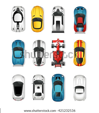 sport and racing cars top view