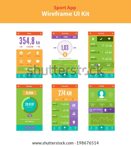 Sport app wireframe UI kit. Running activity app. Main screen, Running screen, Activity screen, Running results screen, Calendar screen, Profile screen, Statistics. Colorful quality running sport app.