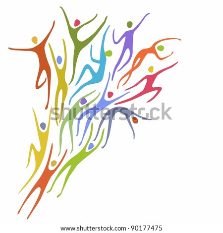 Sport background in vector. Abstract illustration with colorful figures of peoples in motion. Space for text