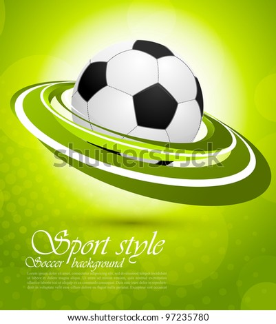 Sport background with ball in green color