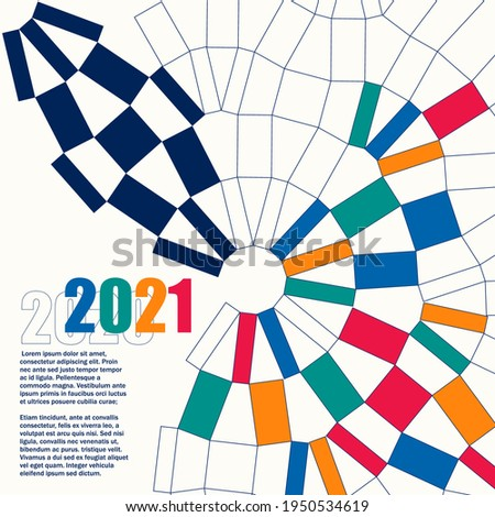 Sport background with modern and traditional elements 2020, 2021, vector
