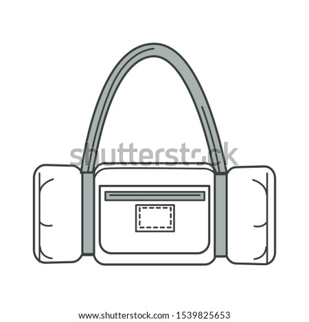 Sport bag isolated outline icon, sportswear and traveling equipment vector. Workout and trip, accessory or handbag, packing things. Travel valise, baggage or luggage, fitness and voyage linear symbol