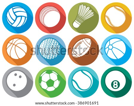 sport ball flat icons (beach ball, tennis ball, american football ball, soccer ball, volleyball ball, basketball ball, baseball ball, bowling ball, cricket ball, badminton ball, billiard ball)