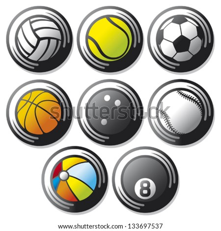 sport ball icons (beach ball, tennis ball, american football ball, football ball - soccer ball, volleyball ball, basketball ball, baseball ball, bowling ball, sport balls buttons)