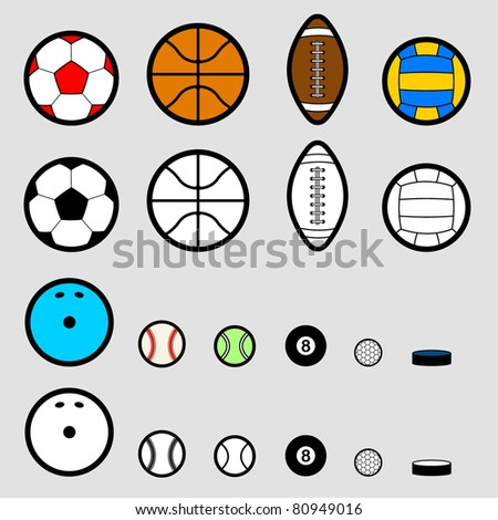 Sport ball pictogram, simple style