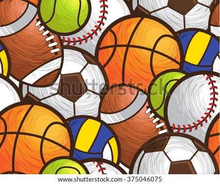 Sport ball seamless pattern vector