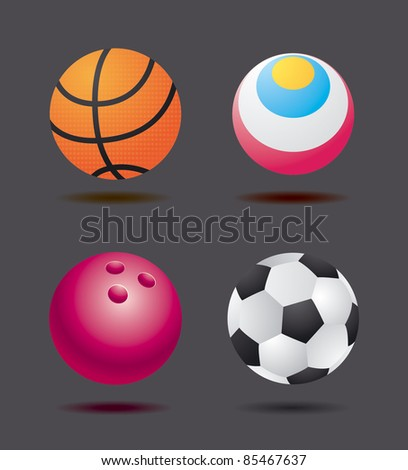 Sport Ball Set of vector sport balls for basketball, football, soccer, and bowling