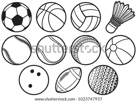sport ball thin line icons set (beach, tennis, american football, soccer, volleyball, basketball, baseball, bowling, cricket, badminton)