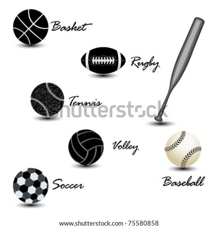 sport balls against white background, abstract vector art illustration