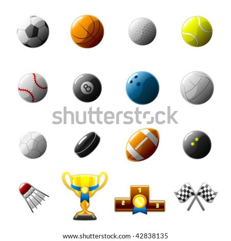 sport balls and objects icon set